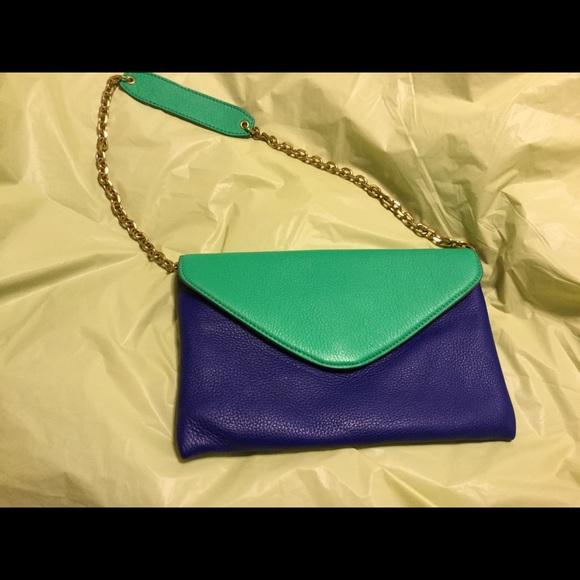 J. Crew Handbags - Envelope  bag from J. Crew. Blue & green. NWOTs